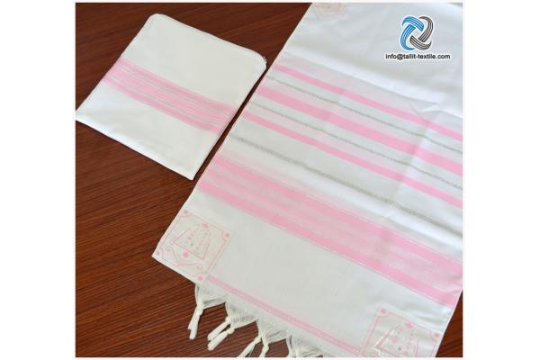 High quality Acrylic Tallit set pink  and silver