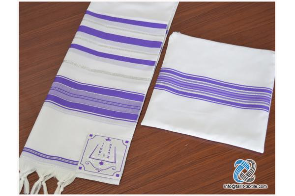 High quality Acrylic Tallit set purple and silver