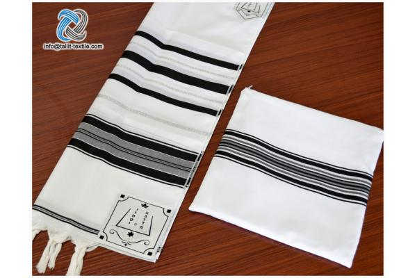 High quality Acrylic Tallit set black and silver