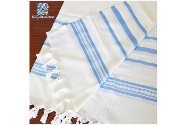 Nonslip Wool Tallit Prayer Shawl in Sky blue Stripes
