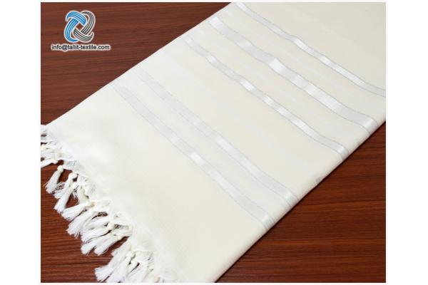 Nonslip Wool Tallit Prayer Shawl in White Stripes